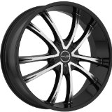 Akuza Shadow 24 Machined Black Wheel / Rim 5x115 & 5x120 with a 35mm Offset and a 74.1 Hu