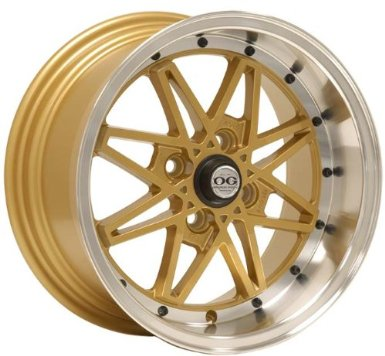 15x8 Axis Oldskool (Gold w/ Machine Polished Lip) Wheels/Rims 4x100 (OLS5804C25GLP)
