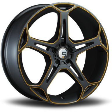 Five Axis X5F 19 Black Yellow Wheel / Rim 5x100 with a 35mm Offset and a 73.10 Hub Bore.