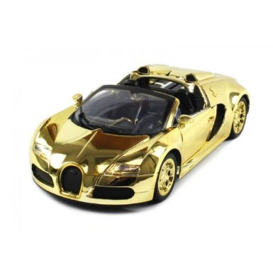 Diecast Bugatti Veyron Roadster Electric RC Car 1:18 Metal RTR (Gold Edition)
