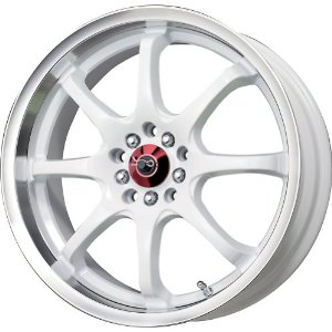 "Drag DR 55 White Wheel with Machined Lip Finish (18x7""/5x100mm)"