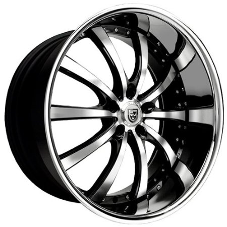 Lexani LSS-10 642SS Black Wheel / Rim 22x9 5x120 25mm Offset 74.1mm Hub SKU: 642-2290-13-2
