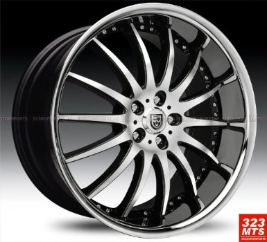 "Lexani Lx14 20x8.5"" Mercedes Benz S E Class Wheels Rims Black Machine & Chrome Lip Wheels"