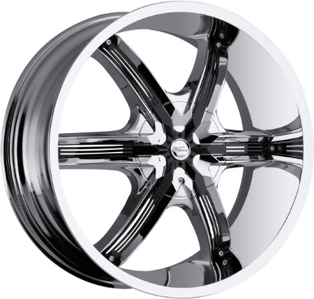 26x9.5 Milanni Belair 6 Chrome w/ Black Inserts Wheel Rim 5x115 5x139.7 (5x5.5) +8mm Offse