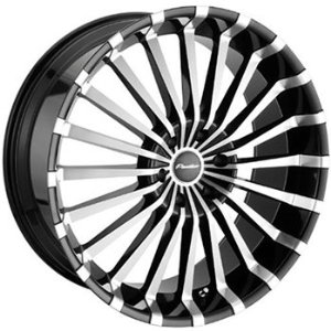 Panther Spline 22 Machined Black Wheel / Rim 5x120 with a 20mm Offset and a 74.1 Hub Bore