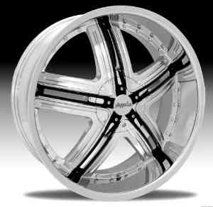 Pinnacle P60 Halo 20x8.5 Chrome Wheel with Black Inserts 5x115mm 5x120mm Bolt Pattern