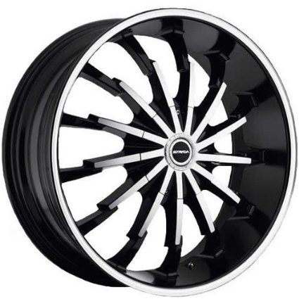 Strada Stiletto 22 Machined Black Wheel / Rim 5x112 & 5x115 with a 40mm Offset and a 74.1