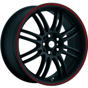 Focal F-16 17 Black Red Wheel / Rim 5x100 & 5x4.5 with a 42mm Offset and a 73 Hub Bore. P
